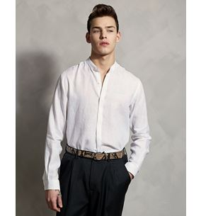Collarless Linen Shirt