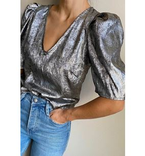 Ally Blouse Silver Metallic